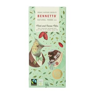 Picture of Bennetto Organic Mint Chocolate 100g (GF, DF, V)