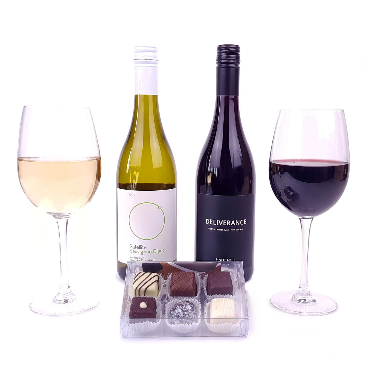 Nz wine and chocolates free delivery flying flowers picture of two new zealand wines and chocolates negle Choice Image